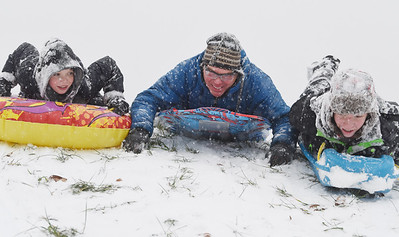 Jacob Bridgeman, 11, of Valencia spent the afternoon sled riding with his brother Michael, 14, and dad Jim Bridgeman at Glade Run Lake Wednesday, December 16, 2020. Harold Aughton/Butler Eagle.