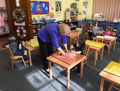 Christine Love, a teacher at Butler Montessori, has fewer children to teach in the classroom this year. December 15, 2020.  Harold Aughton/Butler Eagle