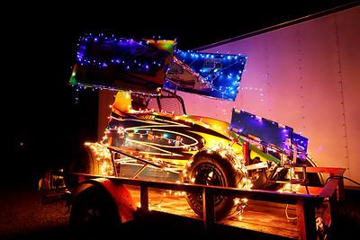 Dash Osmer's Christmas light decorated Micro-Sprint race car. Seb Foltz/Butler Eagle 12/15/20