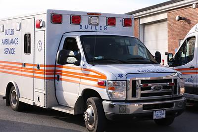 A Butler Ambulance Service vehicle leaves the ambulance facility Wednesday. Seb Foltz/Butler Eagle Dec. 2020