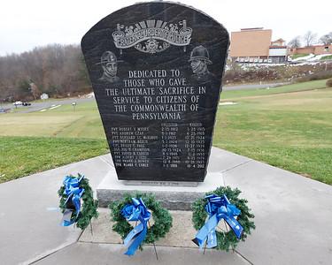 Police memorial at Butler State Trooper Barracks. Seb Foltz/Butler Eagle