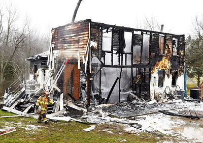 At least eight fire companies were called to a house fire at the 300 block of Victory Road in Jefferson Twp. Monday morning.  December 14, 2020. Harold Aughton/Butler Eagle.
