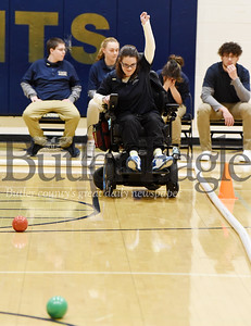 Harold Aughton/Butler Eagle: Emily Gall reacts to her shot at Knoch's first bocce tournament Thursday, January 30, 2020.