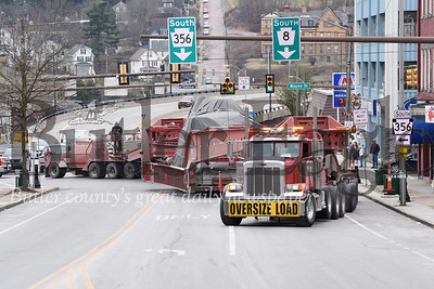 Harold Aughton/Butler Eagle: An oversized truck makes its way onto Main Street Friday, January 31, 2020. The truck slowed down traffic throughout the county as it made its way up route 8 to route 108 through slippery rock and onto Interstate 79 on its way to Texas.