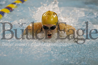 Butler swimmer Laura Goettler doing butterfly in the 200 IM against Pine Richland. 02/05/20 Seb Foltz/Butler Eagle
