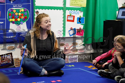 Slippery Rock University School of Education graduate student teacher Emily Armentrout leads a lesson at the university's preschool. Seb Foltz/Butler Eagle