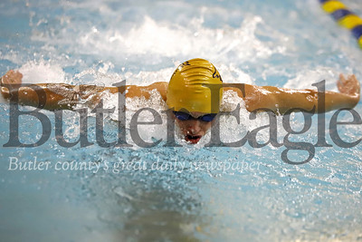 Butler's Sam Deemer swimming the butterfly in the 200 IM against Pine Richland. 02/05/20 Seb Foltz/Butler Eagle