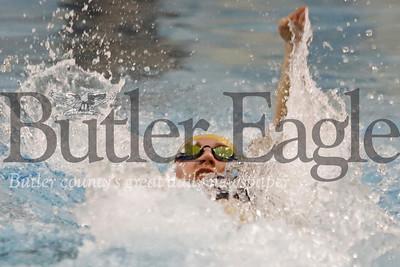 Butler swimmer Abbie Griffith doing backstroke in the 200 medley relay against Pine Richland. 02/05/20 Seb Foltz/Butler Eagle