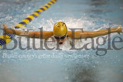 Butler swimmer Laura Goettler doing butterfly in the 200 IM against Pine Richland. 02/05/20 Seb Foltz/Butler Eagle