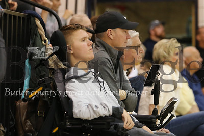 Danny Markel watches the Butler vs. North Catholic boys basketball game with his father Phil Markel, Friday (01/31/20). Seb Foltz/Butler Eagle