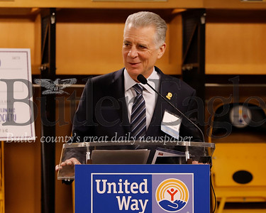 Steelers owner Art Rooney Jr. welcomes United WayTocqueville Society members to the Senator John Heinz Award reception honoring Jean Purvis of Butler in the Steelers' locker room at Heinz field. Seb Foltz/Butler Eagle