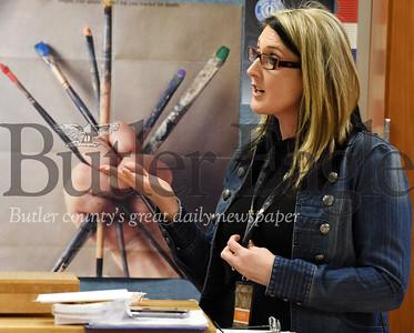 Harold Aughton/Butler Eagle: Librarian Angela Logero describes the importance of the class.