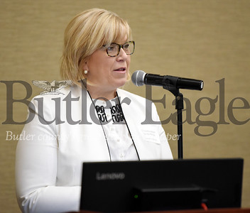 Harold Aughton/Butler Eagle: Commissioner Leslie Osche speaks during the Butler County Growth Collaborative event sponsored by the Butler County Chamber of Commerce and held at the Regional Learning Alliance Tuesday, February 18, 2020.
