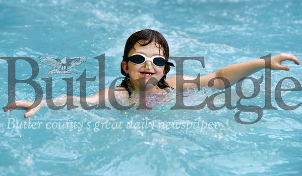 Harold Aughton/Butler Eagle: Madisyn Bowers, 8, of Harmony took part in the Autism Society's swim event at Conley Resort's Pirates Cove Monday, February 17, 2020.