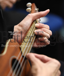 Harold Aughton/Butler Eagle: Barb Scandrol of Saxonburg strums her ukulele as part of the Dutilh United Methodist Church music ministry Thursday, February 13, 2020.