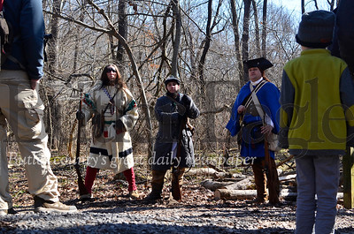 Historical reenactors talk to a historical hiking group at Jennings Environmental Education Center Saturday. The historical hike was one of several hikes hosted at Jennings in celebration of George Washington's 288th birthday. Tanner Cole/Butler Eagle