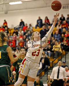 North Catholic's Tess Myers extends for a layup against Blackhawk in Monday night's WPIAL Playoff. Seb Foltz/Butler Eagle