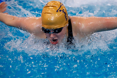 (EDITORS NOTE), focus might be a touch soft better for secondary art: Laura Goettler, Butler High, 200 IM individual, swimming butterfly. WPIAL Championships at University of Pittsburgh Thursday. Seb Foltz/Butler Eagle 02/27/20
