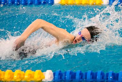 Kendall Craig, Seneca Valley, 200 IM relay swimming freestyle. WPIAL Championships at University of Pittsburgh Thursday. Seb Foltz/Butler Eagle 02/27/20