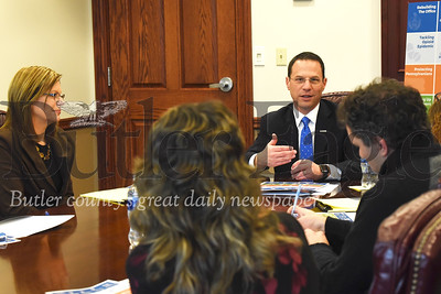 Pennsylvania Attorney General Josh  Shapiro fields questions from Butler Eagle editorial staff during a visit to the Butler Eagle offices Wednesday. Seb Foltz/Butler Eagle