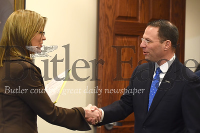 Pennsylvania Attorney General Josh Shapiro shakes hands with Butler Eagle general manager Tammy Schuey during a vistit to the Eagle offices Wednesday. Seb Foltz/Butler Eagle