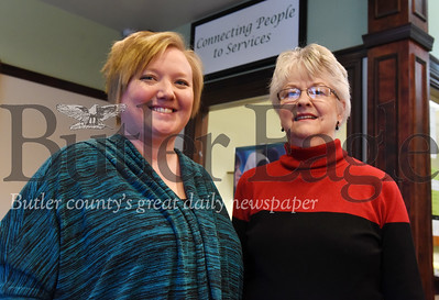 Harold Aughton/Butler Eagle: Jennifer McConnell and Joyce Saunders of the Community Resource Center.
