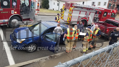 One person was injured in a two-vehicle crash at South McKean and Wayne streets in Butler about 11 a.m. Saturday. Butler police said the driver of a Ford Focus, a Butler man in his 60s, was taken by ambulance to Butler Memorial Hospital with apparent minor injuries. The other driver, who was operating a pickup truck, was not injured. Jan. 11, 2020 Jim Smith/Butler Eagle
