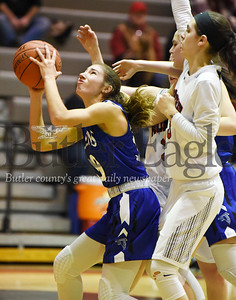 Harold Aughton/Butler Eagle: A.C. Valley's Baylee Blauser, #30, attempts a shot in the second quarter against a host of Moniteau defenders.
