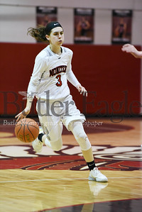 Harold Aughton/Butler Eagle: Moniteau's  Krista Auvil, #3, pushes the ball up the court in the first quarter.