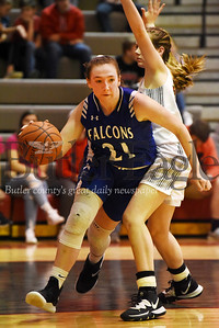 Harold Aughton/Butler Eagle: A.C.Valley's Andrea Meals makes a move on Moniteau's Aslyn Pry, #23.