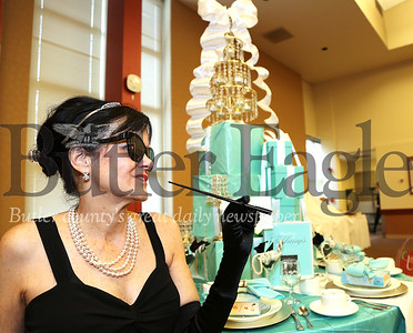 "BC3_Luncheon for Literacy_012620_a.jpg: Linda Franiewski, of West Sunbury, is shown Sunday, Jan. 26, 2020, in costume and at a table celebrating Truman Capote's ""Breakfast at Tiffany's"" during the Luncheon for Literacy sponsored by the Rotary Club of Butler PM and held in Founders Hall on Butler County Community College's main campus in Butler Township. The Luncheon for Literacy raises funds to benefit BC3's adult literacy program."