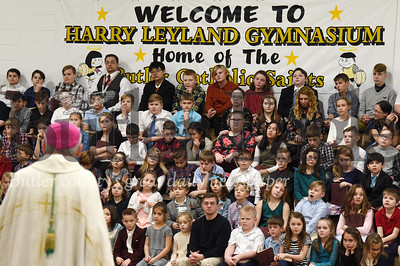 Harold Aughton/Butler Eagle: Bishop Zubik addresses the teachers and students at Butler Catholic Monday, January 27, 2020.