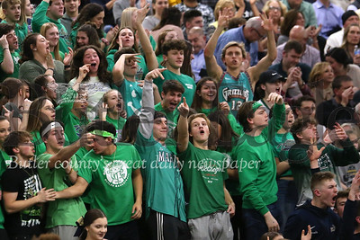 Butler fans celebrate a 3 point shot during the Golden Tornado's section clinching at Pine Richland Tuesday night. Seb Foltz/Butler Eagle