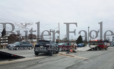 No injuries were reported in a three-vehicle crash that occurred Thursday afternoon on Freedom Road in Cranberry Township.Photo by Samantha Beal.