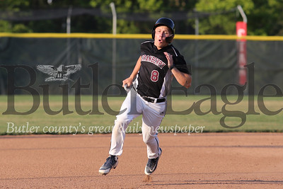 Cranberry's Kyle Stelitano rounds third to score against Butler (Game 1). Homerun in game 2. Seb Foltz/Butler Eagle