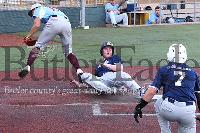 Bluesox player Tyler Hettich slides home on a wild pitch in Wednesday evening's 9-6 win over DuBois. Seb Foltz/Butler Eagle