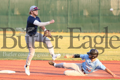 Bluesox shortstop Ryan Lynn (8) turns a double play in the 6th inning Wednesday evening against DuBois.  The Bluesox won 9-6 in the first game of a doubleheader. Seb Foltz/Butler Eagle