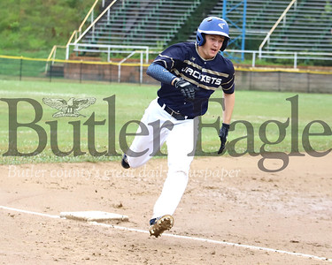 Butler v Freeport 07/11/20 Freeport #10 rounds third before being signeled to hold at the base.  Seb Foltz/Butler Eagle