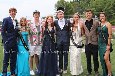Slippery Rock High School Prom Court, left to right: Zach Caldwell, Julienne Anderson, Kayla Daugherty, Jace Franco, Lindsey Waag, Ellie Reiser. Seb Foltz/Butler Eagle 2020