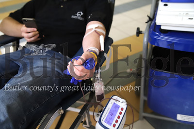 FILE PHOTO blood donation. Taken 7/10/20 at Clearview Mall. Cole Patterson of Butler pictured. Seb Foltz/Butler Eagle KEYWORD: Vitalant