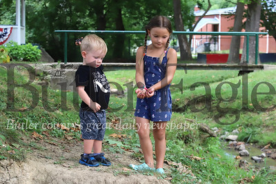 Evelynn Buckwalter, 5, of Evans City gives Henry Kusick, 2, of Cranberry rocks to throw in the small stream in Zelienople Community Park Tuesday. The pair were playing in the creek with their brothers and sisters. Seb Foltz/Butler Eagle