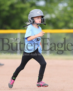 Seneca Valley 10U softball player Maddie Hancher, 7, rounds second base during a recent game against Mars. Seb Foltz/Butler Eagle