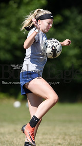 Harold Aughton/Butler Eagle: Brittnie Spithaler, a rising junior at Endinboro University and Butler HS grad, stops a pass in the middle of a game at the Renfrew soccer fields. Wednesday, July 15, 2020.