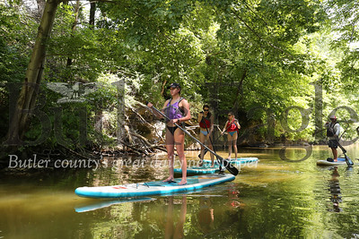 Paddleboarders explore a cove on Lake Arthur at Moraine State Park earlier this month. Seb Foltz/Butler Eagle July 2020