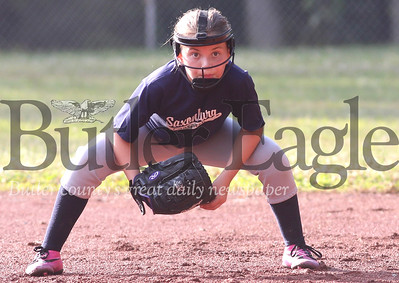 Second baseman Adelynna Thompson takes a ready stance in a hotly contested Saxonburg vs. Saxonburg 10U game Tuesday at Laura Doerr Park. 07/22/20 Seb Foltz/Butler