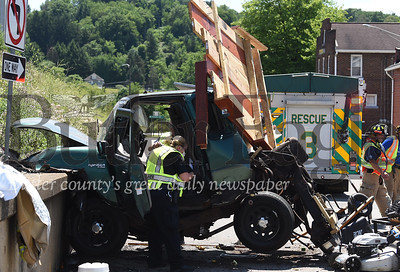 Going to be sending a few emails with these so I'm numbering them. All photos by me Captions can all be the same.A man was killed Saturday afternoon in Lyndora after the car he was a passenger in crashed into a concrete wall. The driver was severely injured.  photo 2