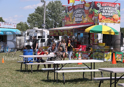 Food vendors at the Butler Farm Show grounds Tuesday. Seb Foltz/Butler Eagle July 2020