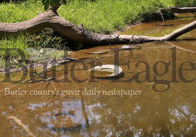 Tires sit in Thorn Creek. Area resident Joe Markus says every time the creek floods, due to log jams, more garbage washes up on his property. The jams have also created errosion issues Markus is concerned about. Sebastian Foltz/Butler Eagle 07/29/20