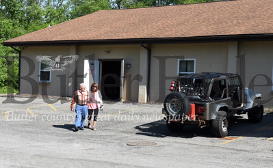 Harold Aughton/Butler Eagle: Darla Beer of Sarver took her dad, Darl Beer, 88, to the White Star Fraternal Society building to vote on Tuesday, June 2, 2020. According to Darl, he has voted in every election for the past 70 years.