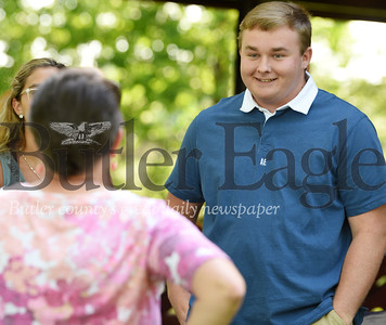 Harold Aughton/Butler Eagle: Daulton Roth talks with his accounting teacher, Anne Wargo during the Freeport High School top ten event at Laura Doerr Park. Roth will attend Butler County Community College in the fall.